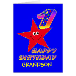 Grandson birthday cards invitations zazzle red smiley star 1st birthday cards for grandson bookmarktalkfo Gallery