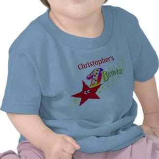Red Smiley Star 1st Birthday Shirt T-shirt