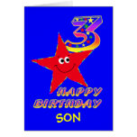 Red Smiley Star 3rd Birthday Cards with Name
