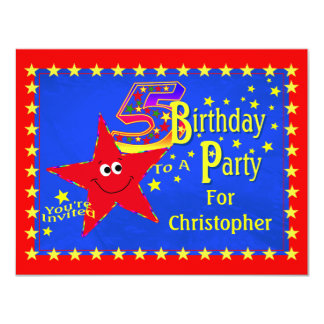 Red Smiley Star 5th Birthday Party Invitation