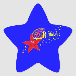 Red Smiley Star 6th Bithday Party Sticker