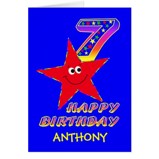 Red Smiley Star 7th Birthday Custom Name Card