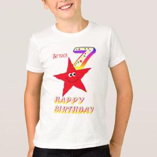 Red Smiley Star 7th Birthday Shirt