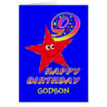 Red Smiley Star 9th Birthday Card with Name