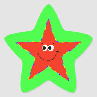 Red Smiley Star Bithday Party Sticker