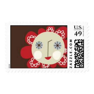 Red smiling flower postage stamp