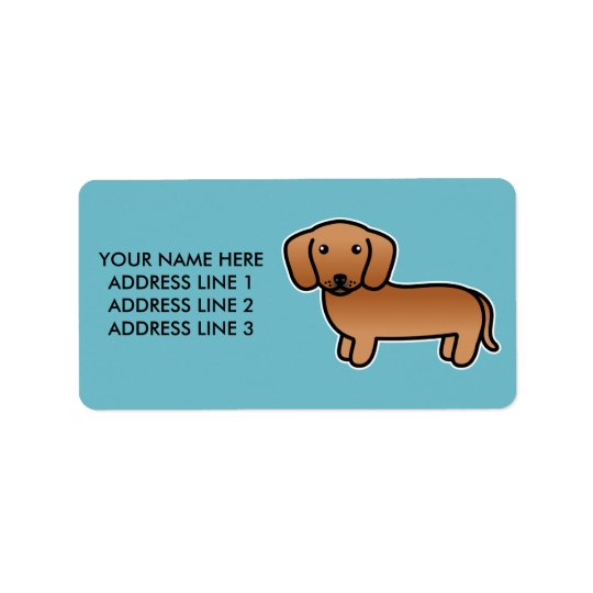 Red  Smooth Coat Dachshund Cartoon Dog Address Label