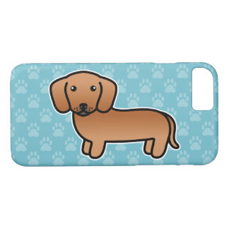Red Smooth Coat Dachshund Cartoon Dog iPhone 8/7 Case