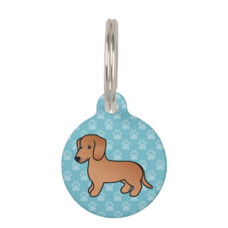 Red  Smooth Coat Dachshund Cartoon Dog Pet Tag