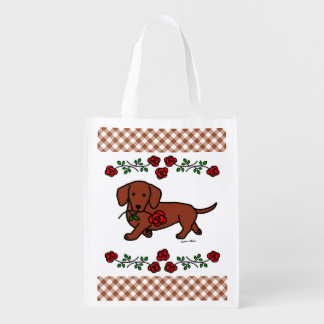 Red Smooth Dachshund and Rose