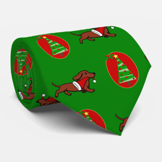 Red Smooth Dachshund Holiday Tie