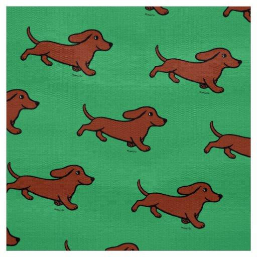 Red Smooth Dachshund Running Green Fabric