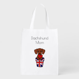 Red Smooth Haired Dachshund Union Jack