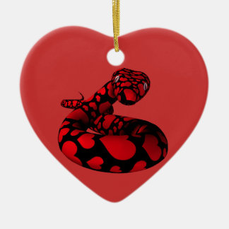 Red Snake With Hearts Christmas Ornament