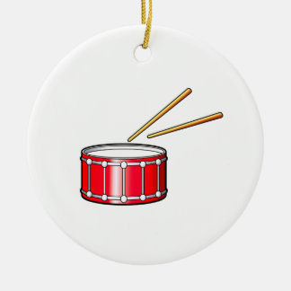 red snare graphic with sticks christmas ornament
