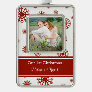 Red Snow Couples First Christmas Ornament