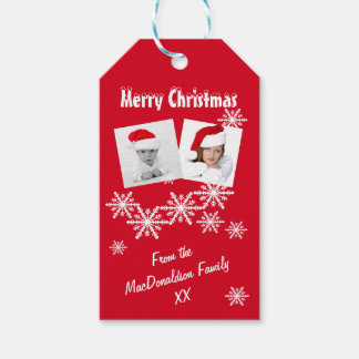 Red snow Instagram Merry Christmas photo template Gift Tags