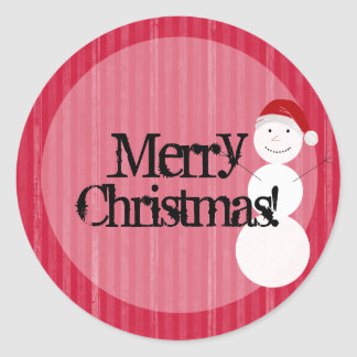 Red Snow Man background Merry Christmas Stickers