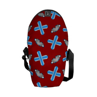 red snowboard pattern courier bag