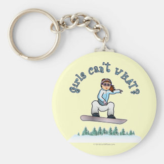Red Snowboarder Basic Round Button Key Ring
