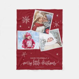 Red Snowflake | 3 Photo Christmas Fleece Blanket