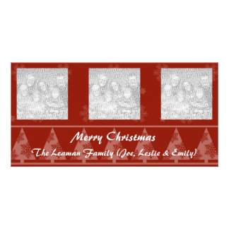 Red Snowflake and Christmas Tree Photo Cards