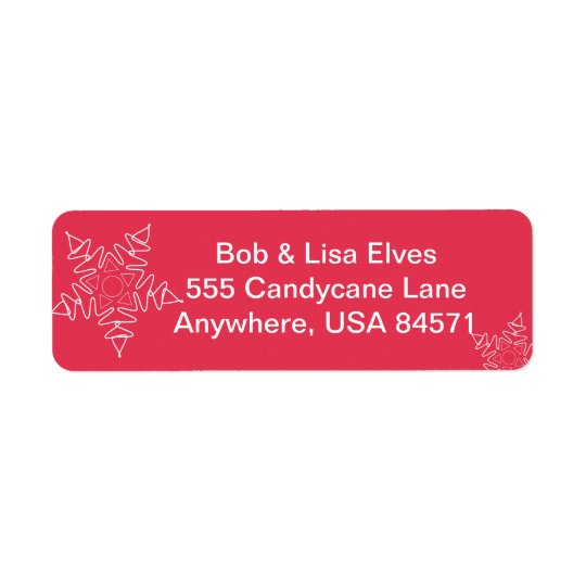 Red Snowflake Christmas Adress Labels