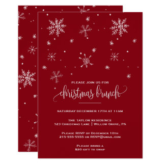 Red Snowflake Christmas Brunch Card