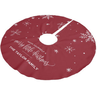 Red Snowflake Christmas Brushed Polyester Tree Skirt