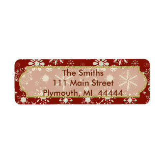 Red Snowflake Christmas Envelope Address Label