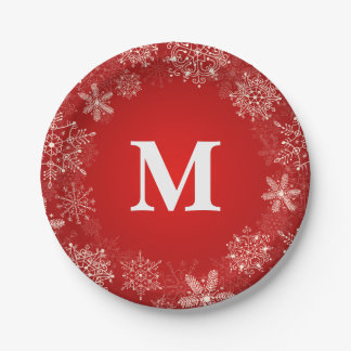 Red Snowflake Circle Monogram Paper Plate