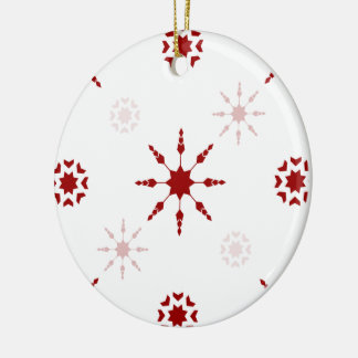 Red Snowflake Design on White Round Ceramic Decoration