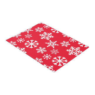 Red Snowflake Door Mat - Christmas