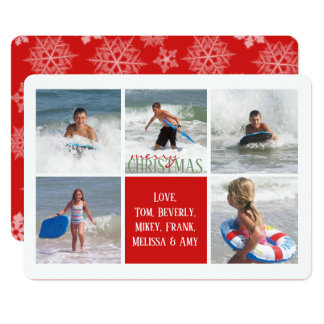 Red Snowflake Double Sided Multi Photo Card