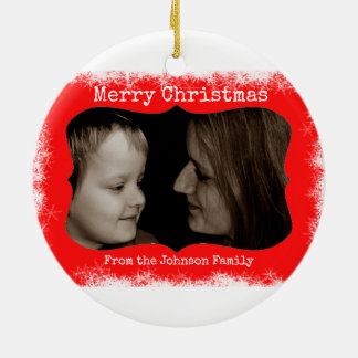 Red Snowflake Family Photo Ornament