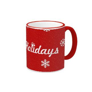 Red Snowflake Happy Holidays Mug
