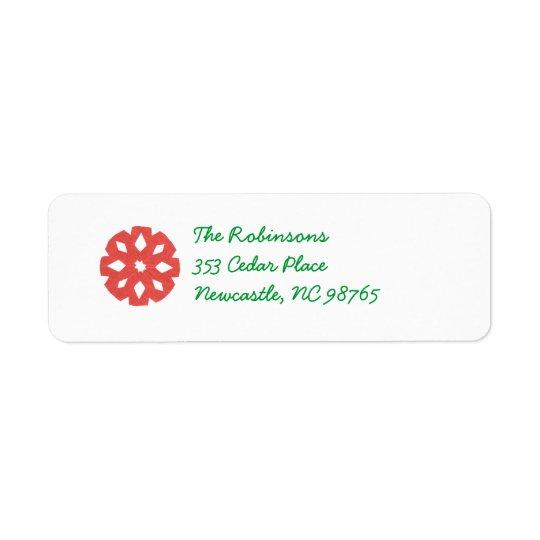 Red Snowflake Holiday Return Address Label