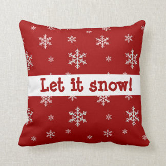 "Red Snowflake ""Let It Snow"" Pillow"