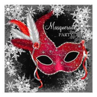 Red Snowflake Masquerade Party Personalized Invite
