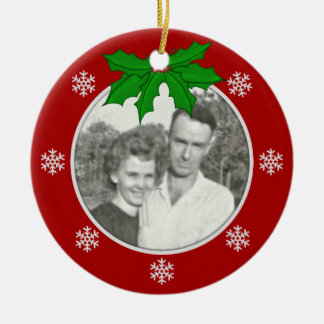 Red: Snowflake Memorial: Picture Ornament