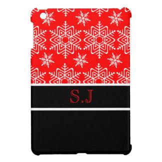 Red snowflake monogram Christmas iPad Mini Case