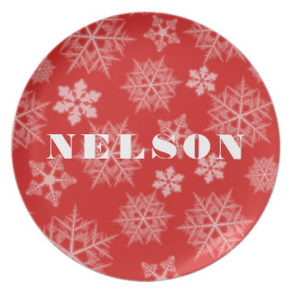 Red Snowflake Pattern Holiday Melamine Plate