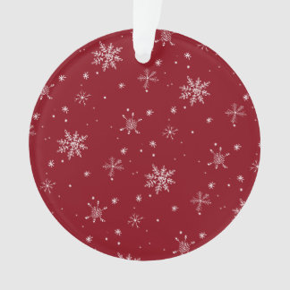 Red Snowflake Pattern Holiday Ornament
