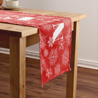 Red Snowflake Pattern Holiday Table Runner