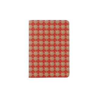 Red Snowflake Pattern Passport Holder