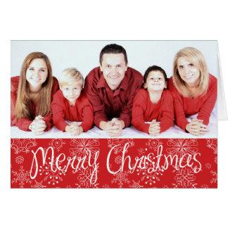 Red Snowflake Photo Christmas Card