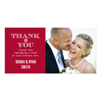 Red Snowflake Wedding Photo Thank You Cards