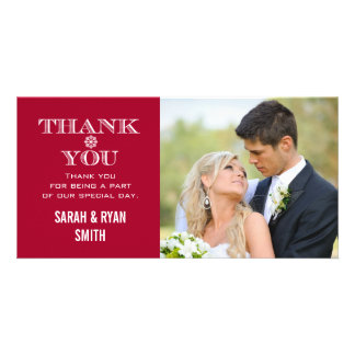 Red Snowflake Wedding Photo Thank You Cards Customised Photo Card