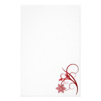 Red Snowflakes and Curls Stationery