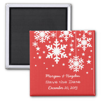 Red Snowflakes and Stars Save the Date Magnet